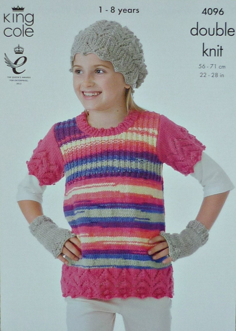 Boys Knitting Pattern K4096 Childrens Long Sleeve Button Neck Jumper and Bobb...