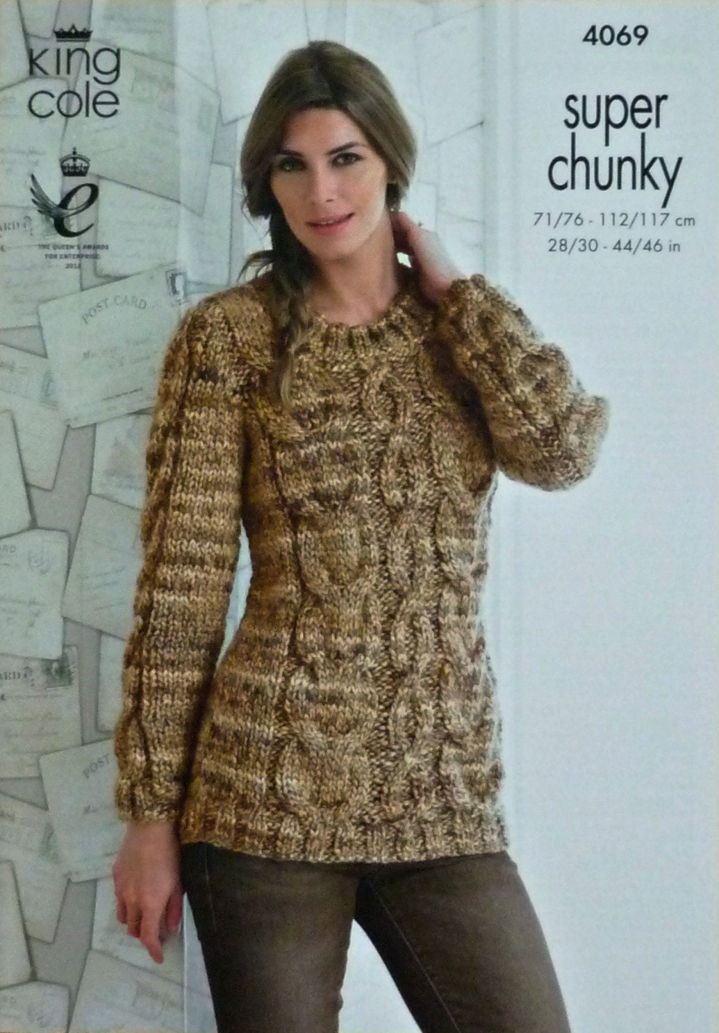 Womens Knitting Pattern K4069 Ladies Long Sleeve Round Neck Long Cable Jumper...