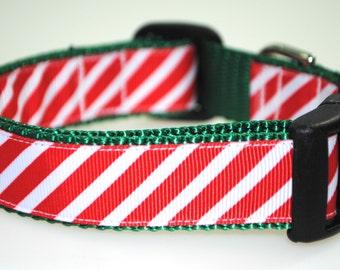 """Christmas Stripes 1"""" Adjustable Dog Collar"""
