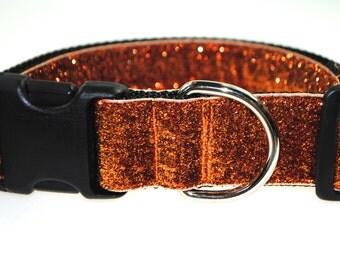 "Orange Glitter 1.5"" Width Adjustable Collar"