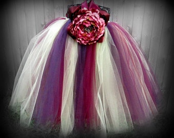Flower Girl Dress - Autumnberry - Ribbons N' Royalty Couture Collection - Wedding, Portrait, Birthday, Church, Tutu Dress, Girls, Toddler