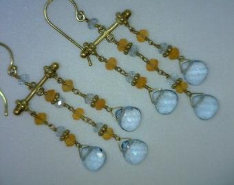 "14K Gold Aquamarine and Citrine Chandelier Earrings, 6.69 Grams,  2"" Long"