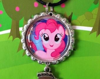 My Little Pony Friendship is Magic Pinkie Pie Cake Bottle Cap Necklace