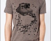 Polaroid Camera Birds T shirt Vintage Photography Unisex Men's Women's - American Apparel Tee Tshirt  9 COLORS Full Spectrum Apparel