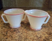 Vintage Hazel Atlas Ovide Platonite Cream & Sugar Set w/Black and Stripes