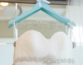 Bridal Hanger, Custom Colors, Personalized Hanger, Wedding Dress Hanger, Custom Hanger, Hand Painted, Swarovski Crystals, Pearls