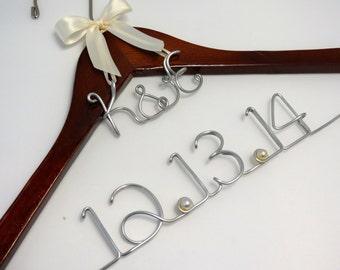 SALE Weding Hanger For Bride Dress, Monogram or Heart Charm, Wedding Gift, Name Hanger