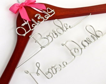 Personalized Dress Hanger, 3-tiered, Name and Date and Title, Name Hanger, Shower Gift