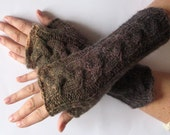 Fingerless Gloves Green Brown wrist warmers