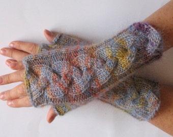 Fingerless Gloves Wrist Warmers Mittens Beige Azure Yellow Orange Purple Knit