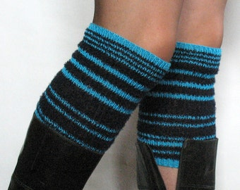 Boot Cuff Boot Toppers Leg Warmers Boot Socks Cable Striped Black Turquoise Dark Blue Multicolored