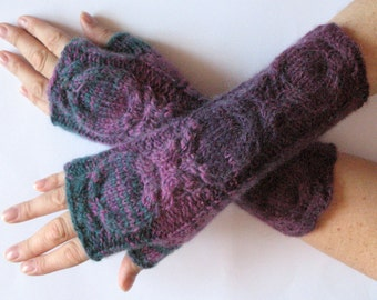 Fingerless Gloves Violet Purple Blue Burgundy Green wrist warmers