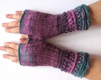 Fingerless Gloves Mittens wrist warmers Violet Purple Blue Burgundy Green knit