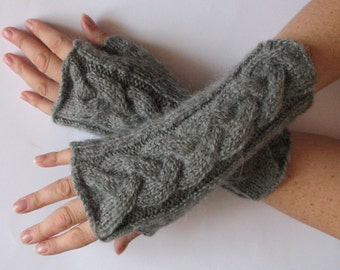 """Fingerless Gloves Arm Warmers Gray Dove 9"""" Mittens Knit, Soft Acrylic Mohair"""