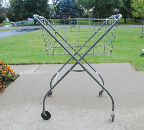 Vintage laundry cart on wheels with folding wire basket - Collapsible laundry basket with wheels ...