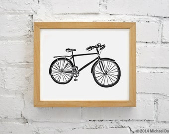 Bike Print Linocut Relief Art - Printmaking Commuter Bicycle