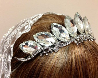 Bridal headband, Bridal tiara, Crystal headband, bridal hair jewelry, crystal tiara, Wedding accessory, hair accessory, Majestic tiara