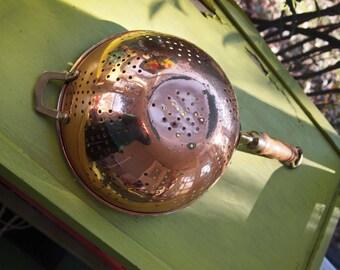 Copper Colander, Oopper Strainer, Cooking Utensil, Copper Kitchen Tool, Copper Home Decor, Sieve, Kitchenware, Metal Utensil, Cookware