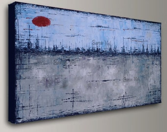 Blue Grey Abstract Painting Acrylic Painting Art Painting Home Office Decor  Wall Art Oil Home Office