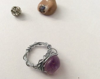Amethyst & Silver Wire Wrapped Ring Size 4