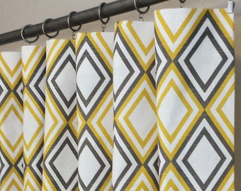 "Pair of Annie Corn Yellow Kelp and White Slub Curtain Panels 25"" x 63 72 84 90 96 108 120"