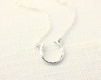 Sterling Silver Horseshoe Necklace - hammered horseshoe necklace, lucky necklace, solid sterling silver horseshoe and chain