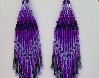 Native American Style Beaded Purple Earrings Boho, Southwestern, Hippie long Twisted, Brick Stitch, Peyote, Gypsy, Great Gift