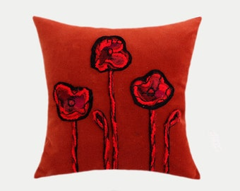 "Decorative Pillow Case, Gold-Orange Velvet fabric with felted Applique Flowers Throw pillow case, fits 18"" X 18"" insert, Toss case"