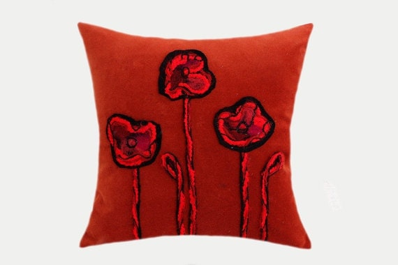 Decorative Pillow Case Gold-Orange Velvet fabric with felted