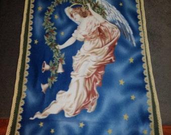 Biblical Angel fleece panel blanket with crocheted edge