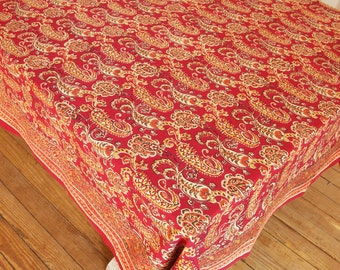 Hand Block Printed Tablecloth - Kashmir berry - 100% Cotton - Easy Care