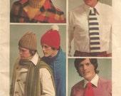 Retro Simplicity 5227  Crochet Men's Hat, Scarf, Tie and Turtleneck Dickey