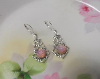 Victorian OPAL earrings  silver FIRE OPAL earrings bridal earrings wedding jewelry pink fire opal harlequin glass bridal accessories