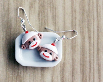 Polymer Clay Miniature Jewelry - Sock Monkey Dangle Earrings