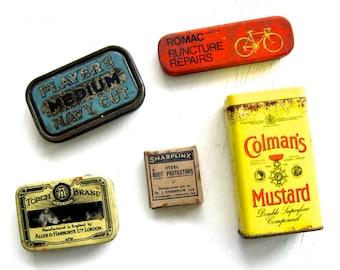 5 Vintage Tins & Box 1950s+