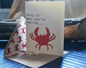 Feeling Crabby Single Blank Card with Crab Paper Lined Envelope- Sick - Get Well - Friendship - Blank