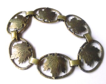 Art Nouveau Sterling Leaf Bracelet Antique Fine Jewelry