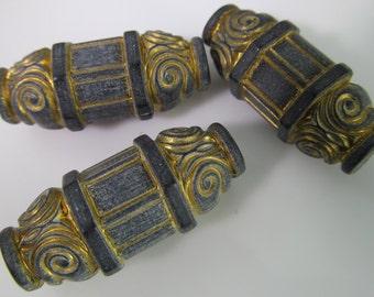6 Vintage 35x13mm Carved Matte Black and Gold Greek Scroll Tube Beads Bd1534