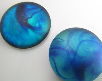 4 26mm Vintage Blue-Green Abstract Glowing Matte Acrylic Cabochons Cb92