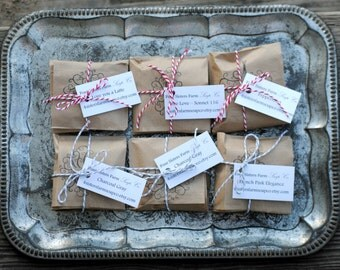 Rustic Stocking Stuffer, Primitive Gift, Homemade Soap Favors, Party Favors, Christmas Party, Rustic Christmas
