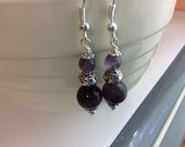 Amethyst Natural Gemstone Dangle Earrings