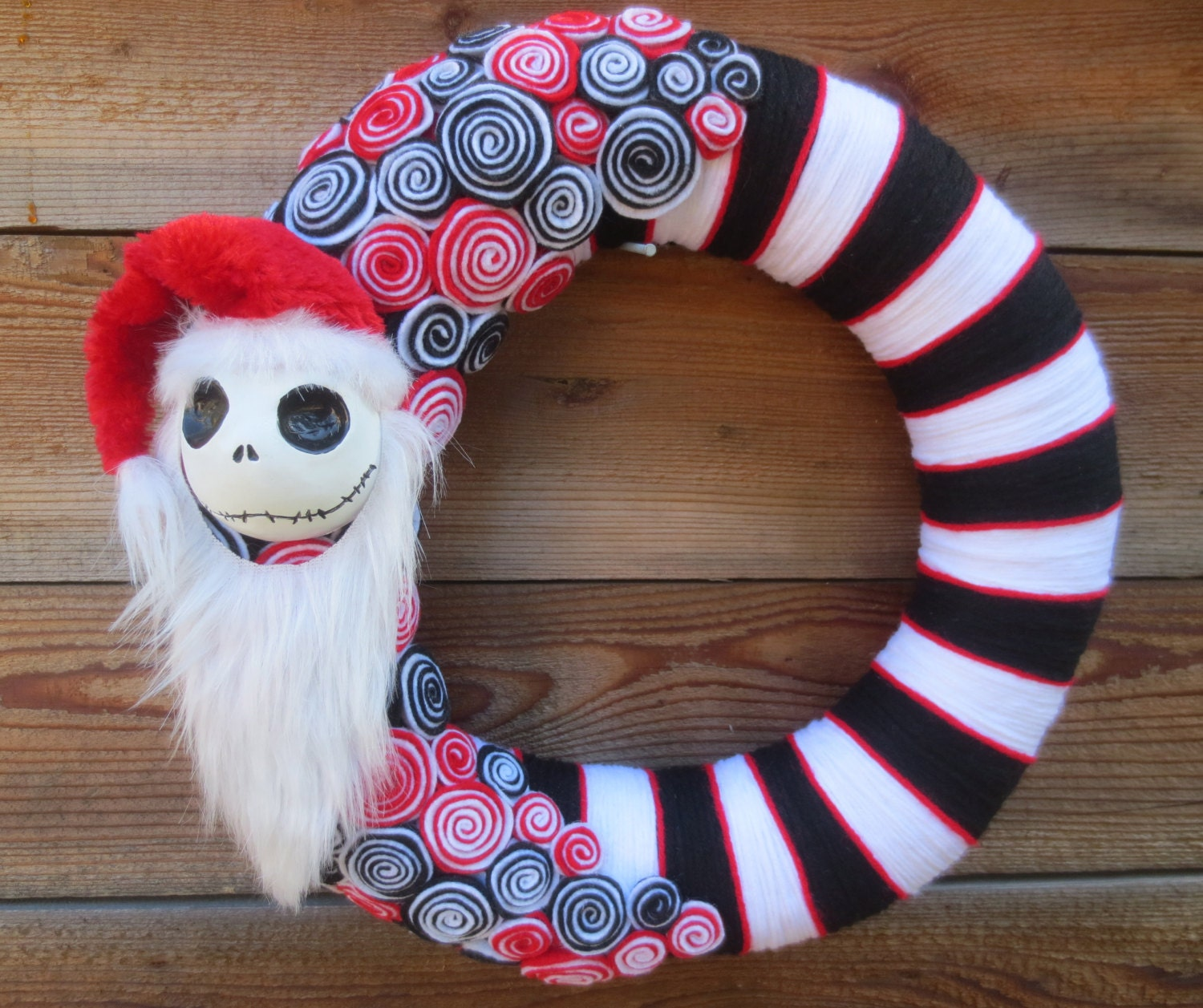 "Jack Skellington as ""Sandy Claws"" The Nightmare Before Christmas 14"", yarn wrapped, felt holiday wreath"