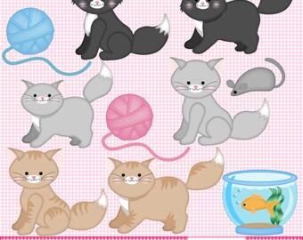 Kitties Clip Art Set - Cat Digital Art - Cat Clip Art - Black Cat - Grey Cat - Tabby Cat - Cat Graphics - Instant Download