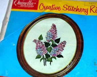 Vintage lilac needlework kit / Quinella creative stitchery kit / embroidery crewel / deadstock NOS / floral flower