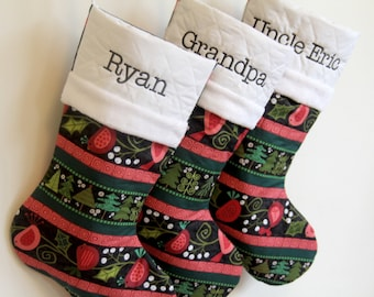 Festive Christmas Tree Personalized Christmas Stockings