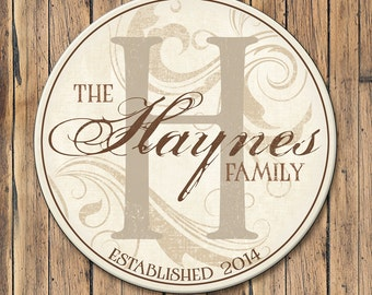 Personalized Wood Family Name Sign, Last Name Wood Plaque Includes Established Date & Monogram, 4 Sizes