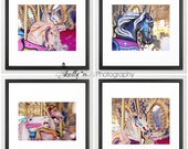 Carousel Horse Photography- Set of 4 Prints, Nursery Decor, Fair Photography Carousel Print Set Fantasy Home Decor, Fine Art Prints, 20% Off