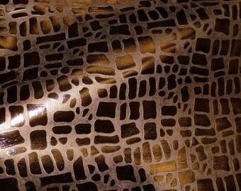 "Metallic Leather 8""x10"" Cobblestone Giraffe BRONZE Metallic Embossed Cowhide 2-2.5 oz / .8-1mm PeggySueAlso™"