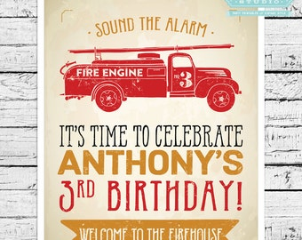 Vintage Firefighter Personalized 8x10 Sign