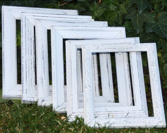 Painted Frames White Set Of Six 5X7 Hand Painted Distressed Frames